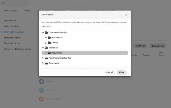 Ein Screenshot, der die erfolgreiche Verbindung von Canto mit Microsoft SharePoint zeigt.