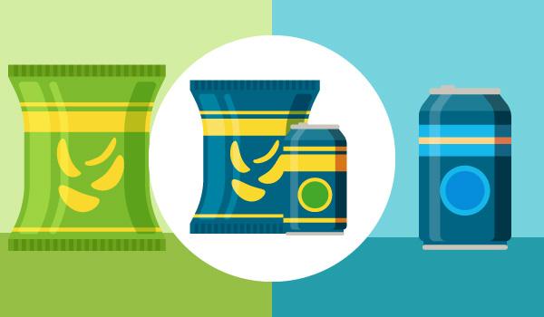 Ein Bild, auf dem aus getrennt stehenden Chips und Limo eine Einheit entsteht und sie nebeneinander stehen.