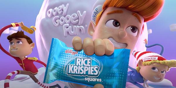 Eine Werbung für Rice Krispies Treats.