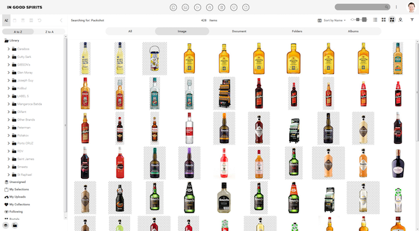 Screenshot of the Canto media library of Inspirits Premium Drinks showing bottles of their products.