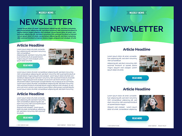 Simple newsletter design next to cluttered, overcrowded design