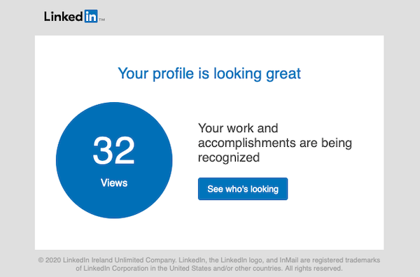 Minimalist email design from LinkedIn
