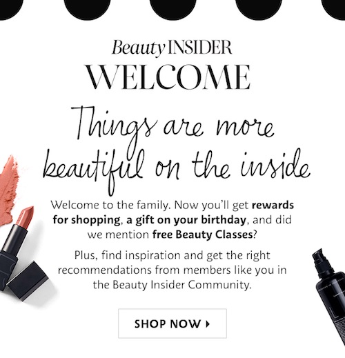Email from Sephora's Beauty Insider program