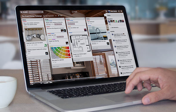 image of trello on a laptop screen as an example of software that supports workflow