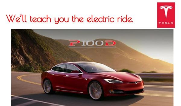 Eine Werbeanzeige für ein Fahrzeug der Marke Tesla.