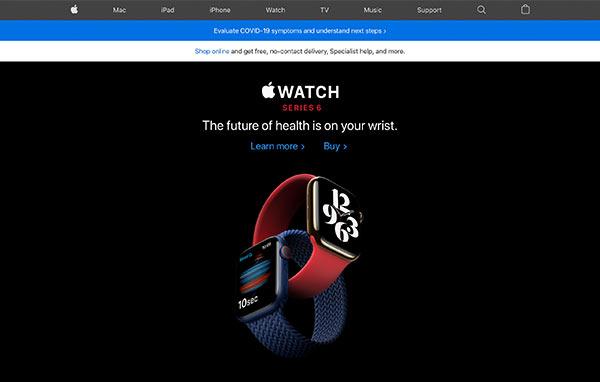 Die Webseite von Apple.