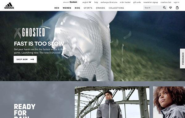 Die Webseite von Adidas.