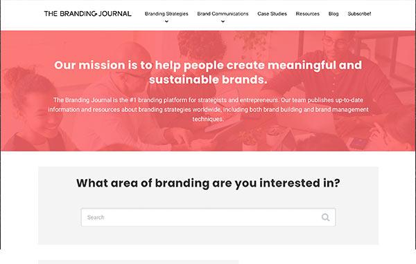 Die Webseite von The Branding Journal.