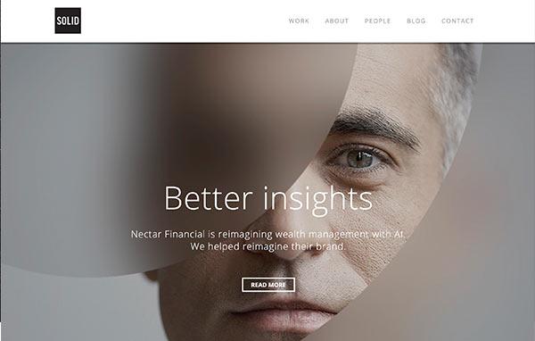 Eine Abbildung der Branding-Webseite von Solid.