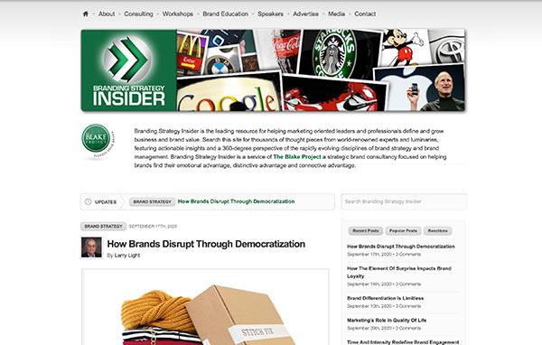 Die Webseite von Branding Strategy Insider.