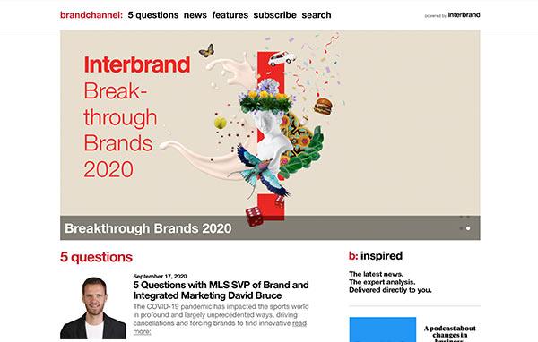 Die Homepage der Webseite von brandchannel.