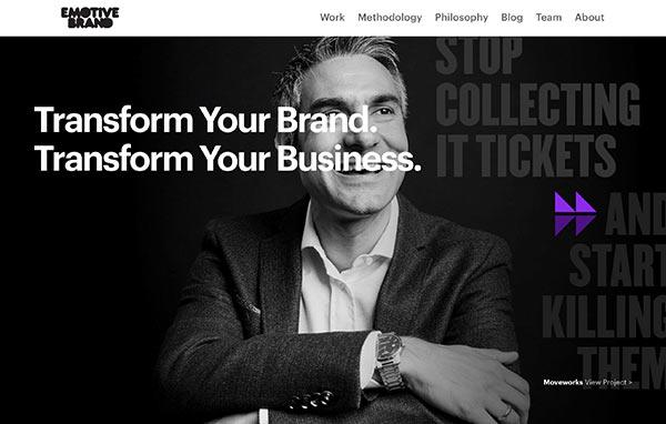 Die Webseite von Emotive Brand.