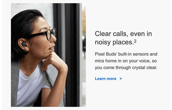 Ein gutes Design der E-Mail, bei dem die Frau im Foto auf den Text schaut.
