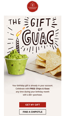 Marketing-E-Mail der 'Get my guacamole'-Aktion.