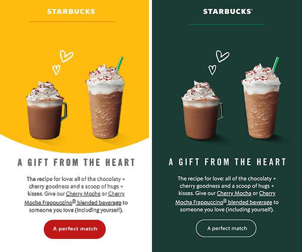 Zwei E-Mail-Designs im Vergleich, eines mit markenfremden und eines mit markenkonformen Farben.
