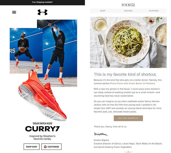 Ein bild- und ein textlastiges E-Mail-Design im direkten Vergleich nebeneinander.
