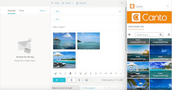 Ein Screenshot zeigt, wie der Canto Connector für Microsoft Outlook n der Praxis verwendet wird.