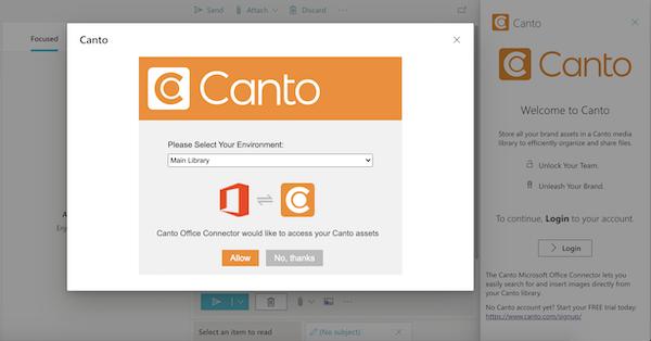 Ein Screenshot zeigt, wie der Canto Connector für Microsoft Outlook eingerichtet wird.