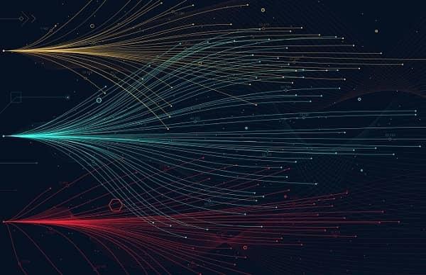 Verschiedenfarbige digitale Linien, die innerhalb eines Raumes verlaufen
