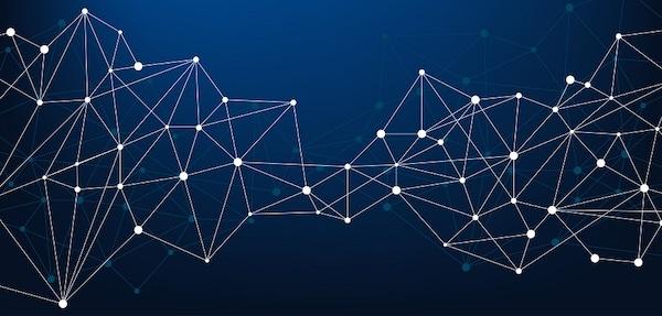 Miteinander verbundene Punkte in einer digitalen Darstellung.
