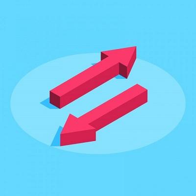 Zwei Pfeile weisen in entgegengesetzte Richtungen.