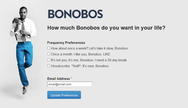 Email cadence options from Bonobos.