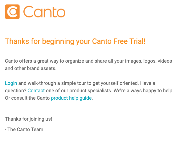 Screenshot of Free Trial Email.