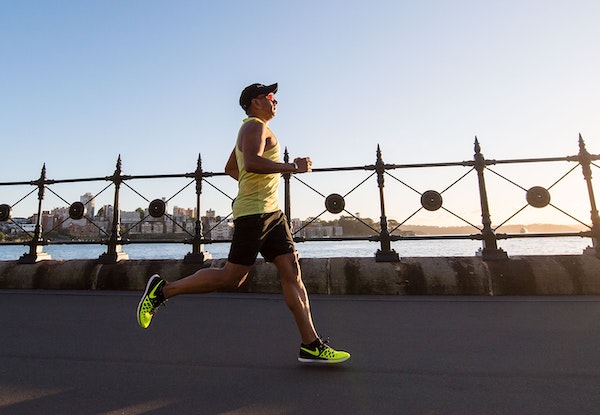 Man running in a city.