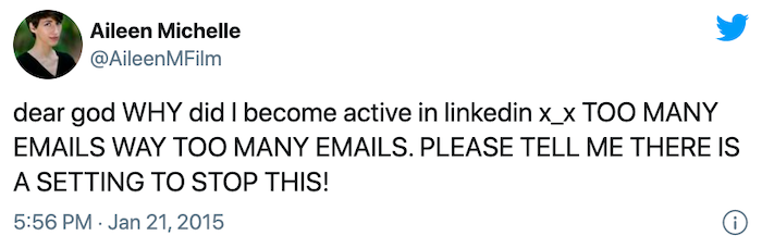 Tweet complaining about too many LinkedIn emails.