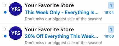 Email subject lines cut off on narrow screen.