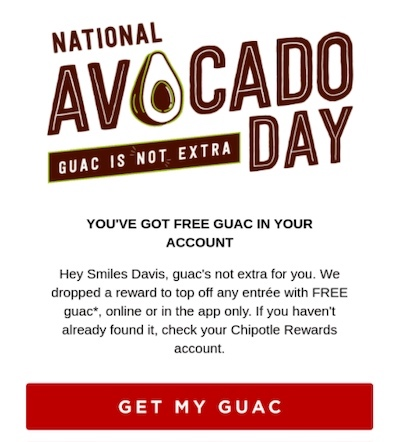 Email from Chipotle with CTA that says get my guac.