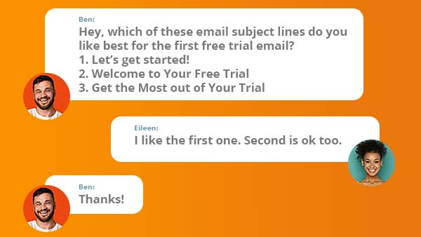 Chat conversation about subject line options.