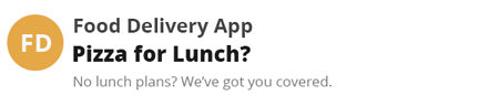 Food delivery email subject line about lunch.