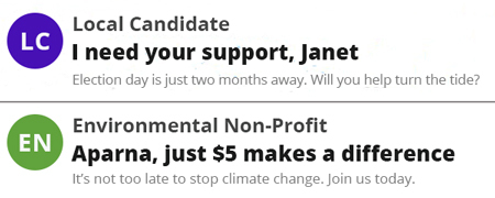 Fundraising email subject lines using first names.