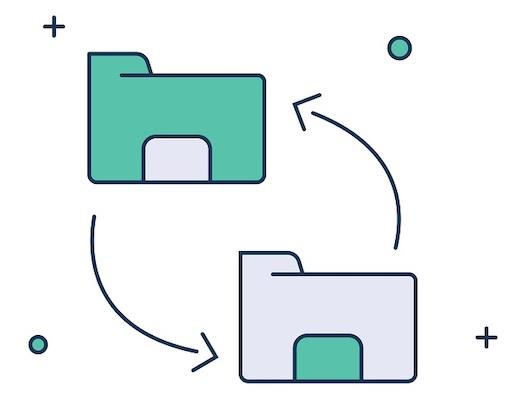 Zwei Dateiordner, die mit Pfeilen aufeinander zeigen, als Beispiel, wie man AI in TIFF konvertieren kann.