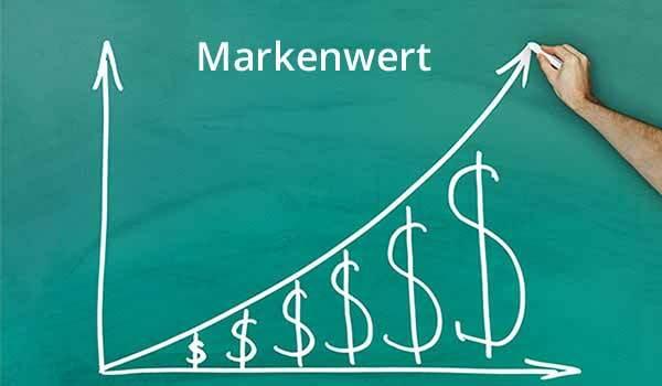 Das Wort Markenwert steht auf einer Kreidetafel geschrieben.