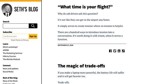 Die Hompage von Seth's Blog.