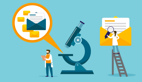 Illustration of scientists investigating emails with lab equipment.