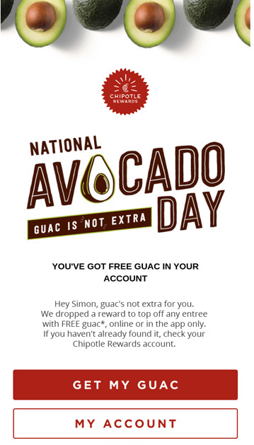 Chipotle email for National Avocado Day with call to action that says Get My Guac.