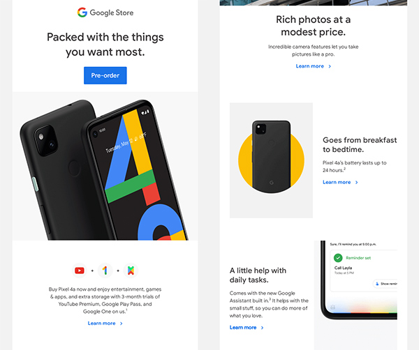 Excerpts from email marketing Google Pixel 4a.