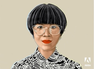 Illustration of a woman with a trendy haircut, bright red lipstick, and clear plastic frames.