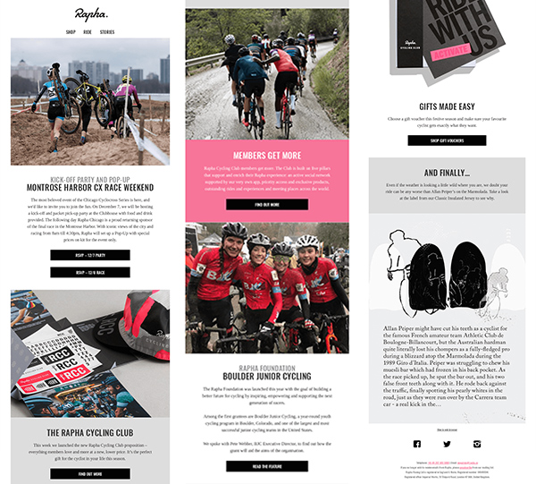 Long email newsletter from cycling brand Rapha.