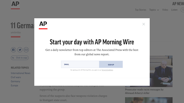 AP's sign-up form for a daily news update.