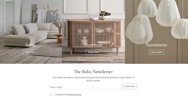 Email sign-up form embedded on Bolia homepage.