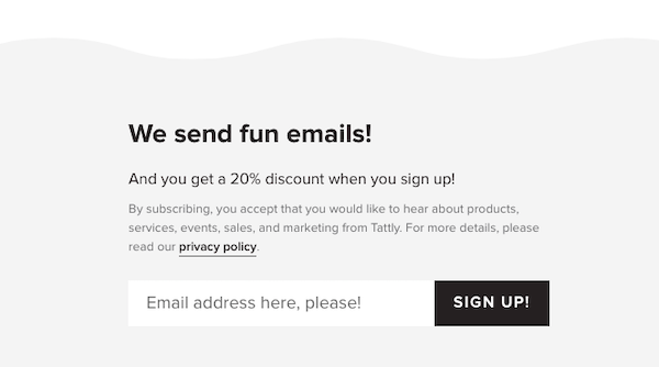 Email sign-up form introduced with copy: We send fun emails.