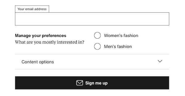 Email sign-up form offering preference options for men's and women's fashion.