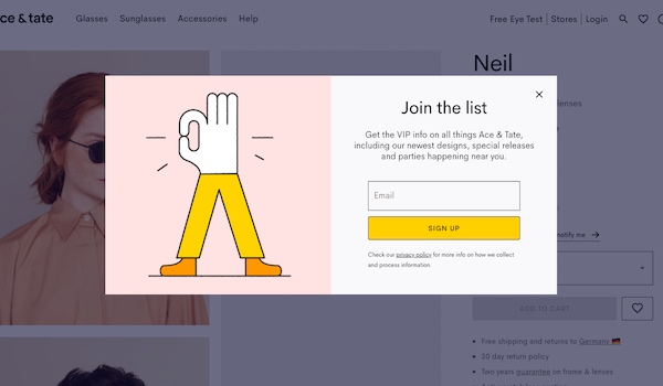 Pop-up email sign-up form on the Ace & Tate website.