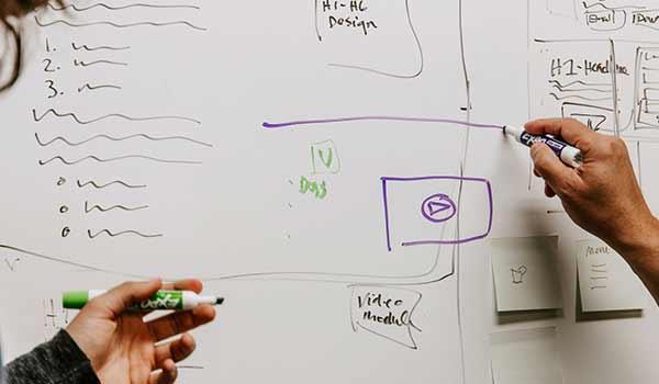 Mitarbeiter erarbeiten am Whiteboard eine Strategie.