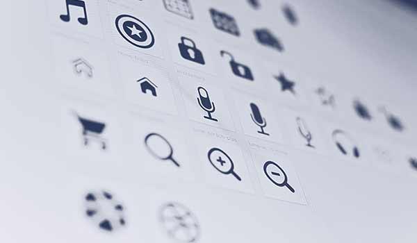 Eine Zusammenstellung digitaler Symbole.