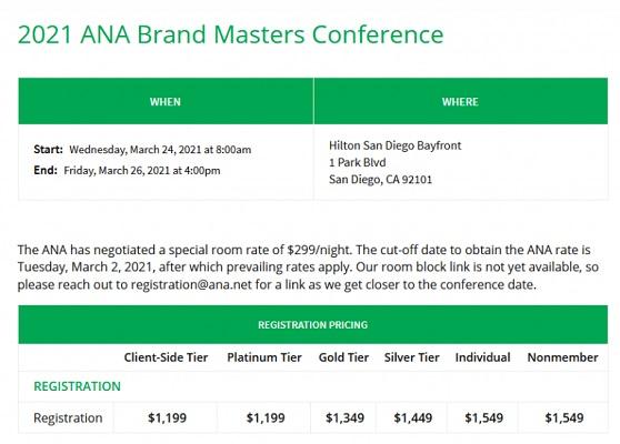 Die Webseite von ANA Brand Masters.